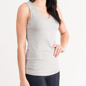 Fitted Tank V-Neck Heather Gray